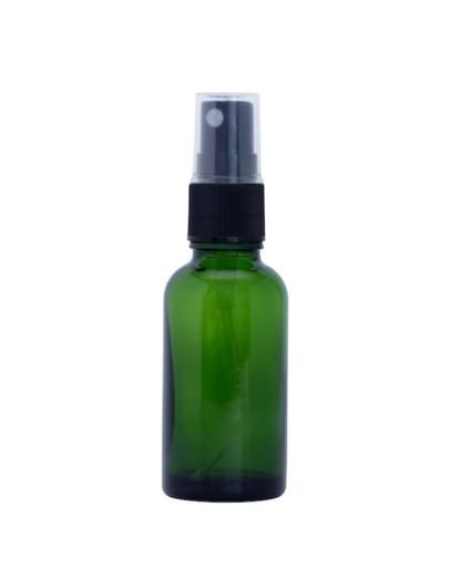 30ml Green Glass Bottle with FIne Mist Spray Top