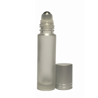 10ml Frosted glass Roller Bottle with Silver Cap