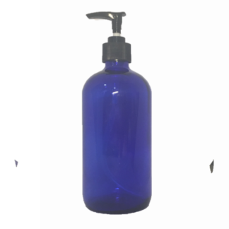 500ml Blue Glass Bottle with Lotion Pump Top