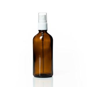 Euro 100ml Amber Bottle with White Fine Mist Spray Top