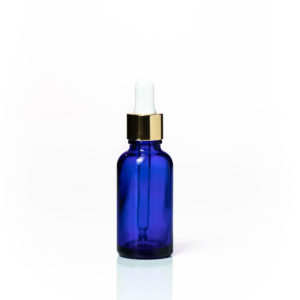 Euro 30ml Blue Glass with Gold Dropper Cap