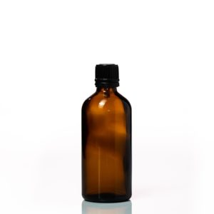 Euro 100ml Amber Bottle with Orifice Reducer and Black Cap