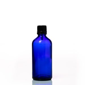 Euro 100ml Blue Bottle with Orifice Reducer and Black Cap