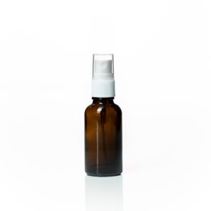 Euro 30ml Amber Glass Bottle with White Fine Mist Spray