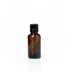 Euro 30ml Amber Bottle with Orifice Reducer and Black Cap
