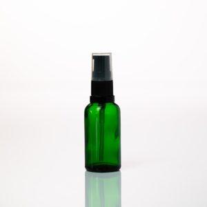 Euro 30ml Green Glass Bottle with Serum Pump Spray