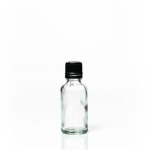Euro 30ml Clear Bottle with Orifice Reducer and Black Cap