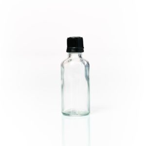 Euro 50ml Clear Bottle with Orifice Reducer and Black Cap