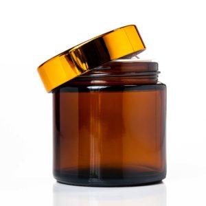 100ml Amber Glass Jar with Gold Lid