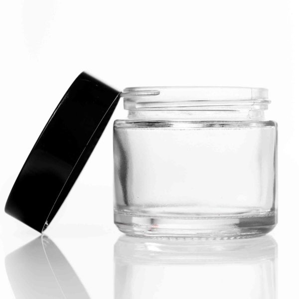 60g Clear Glass Jar with Black Lid