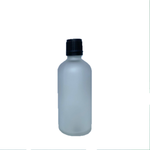 Euro 100ml Frosted Bottle with Orifice Reducer and Black Cap