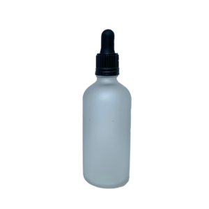 Euro 100ml Frosted Glass Bottle with Black Tampertel Dropper