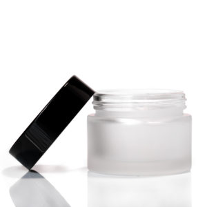 100ml Frosted Glass Jar with Black Lid