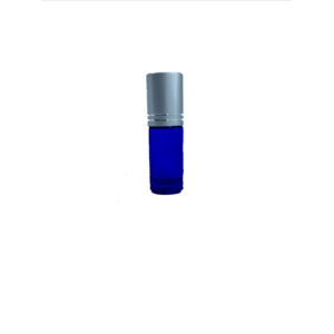 Petra 5ml Blue Glass Bottle with Roller Ball and Silver Cap