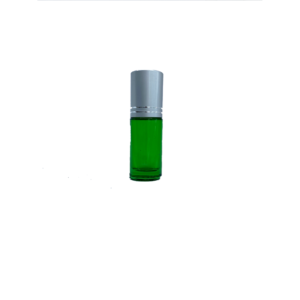 Petra 5ml Green Glass Bottle with Roller Ball and Silver Cap