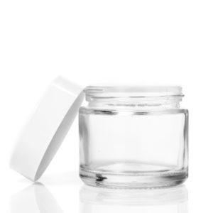 60ml Clear Glass Jar with White Lid