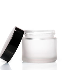 60ml Frosted Glass Jar with Black Lid