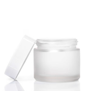 60ml Frosted Glass Jar with White Lid