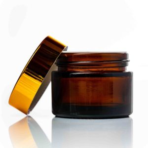 50ml amber glass jar with gold lid