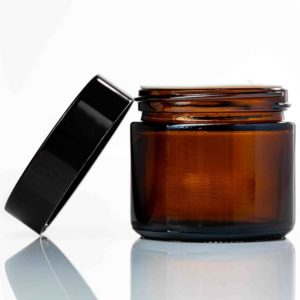 60ml amber cosmetic glass jar with black lid