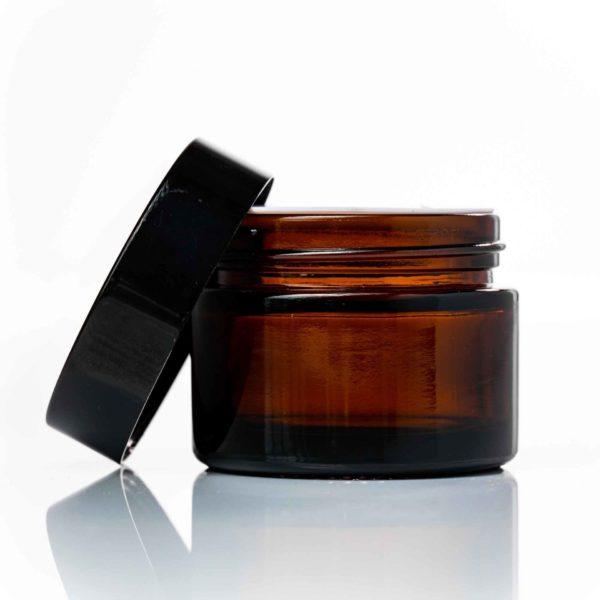 50ml amber glass jar with black lid