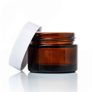 50ml amber glass jar with white lid