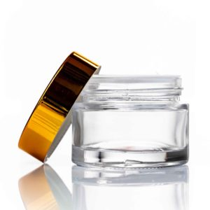 50ml clear glass cosmetic jar with gold lid