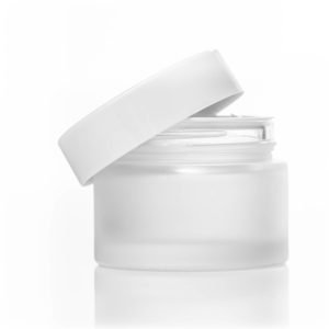 100ml frosted glass jar with white lid