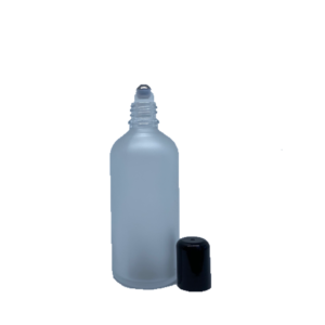 Euro 100ml Frosted Bottle with Rollerball and Black Cap