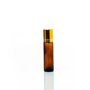 Petra 10ml Amber Glass Bottle with Roller Ball and Gold Cap
