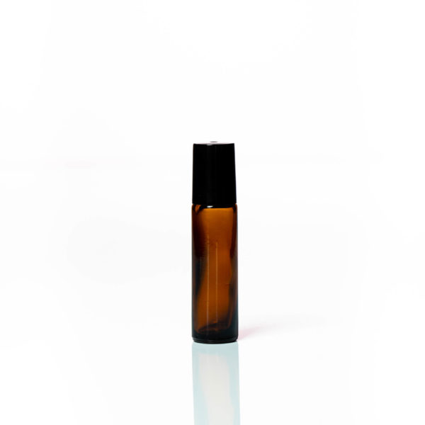 Petra 10ml Amber Glass Bottle with Roller Ball and Black Cap