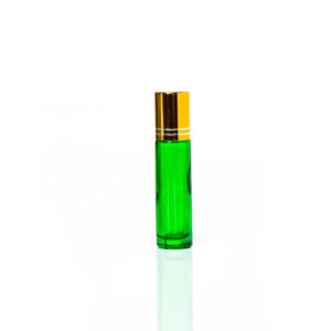 Petra 10ml Green Glass Bottle with Roller Ball and Gold Cap