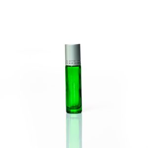 Petra 10ml Green Glass Bottle with Roller Ball and Silver Cap