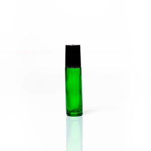 Petra 10ml Green Glass Bottle with Roller Ball and Black Cap