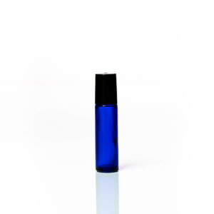 Petra 10ml Blue Glass Bottle with Roller Ball and Black Cap