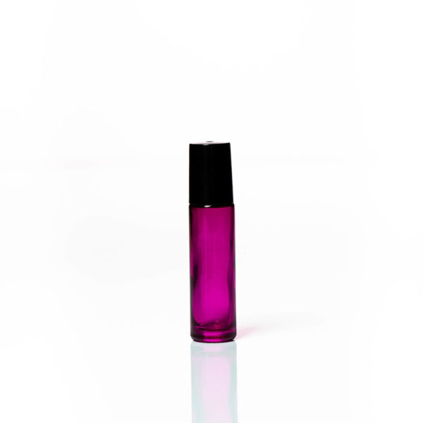 Petra 10ml Pink Glass Bottle with Roller Ball and Black Cap