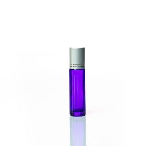 Petra 10ml Purple Glass Bottle with Roller Ball and Silver Cap