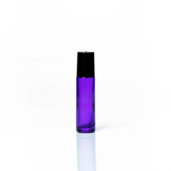 Petra 10ml Purple Glass Bottle with Roller Ball and Black Cap