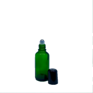 Euro 30ml Green Glass Bottle with Rollerball and Black Cap