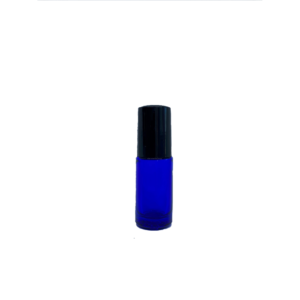 Petra 5ml Blue Glass Bottle with Roller Ball and Black Cap