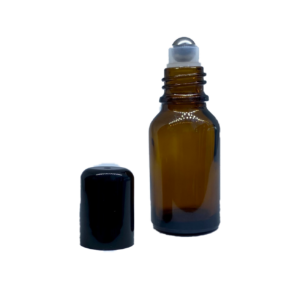 Euro 15ml Amber Bottle with Rollerball and Black Cap