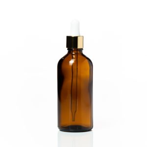 Euro 100ml Amber Glass Bottle with Gold Dropper