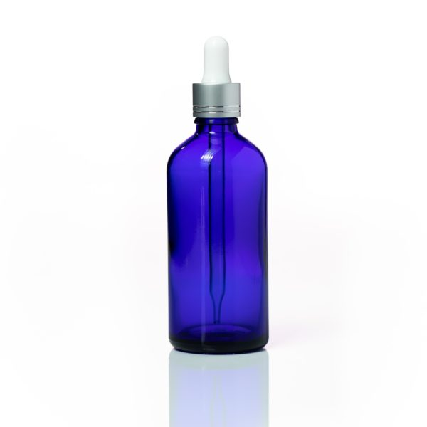 100ml Blue Glass Bottle with Silver dropper 2200 x 2200 2 | Wholesale Aroma Supplies | NZ