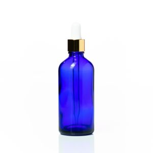 Euro 100ml Blue Glass Bottle with Gold Dropper