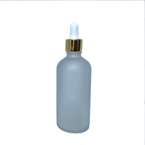 Euro 100ml Frosted Glass Bottle with Gold Dropper