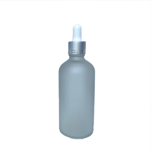 Euro 100ml Frosted Glass Bottle with Silver Dropper