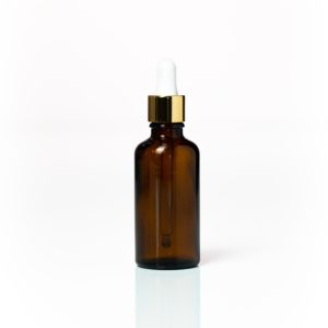 Euro 50ml Amber Bottle with Gold Dropper