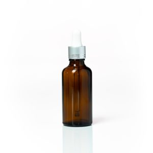 Euro 50ml Amber Bottle with Silver Dropper
